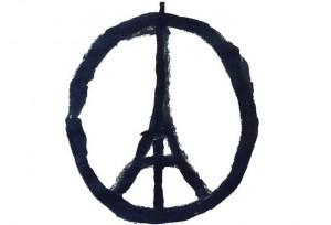 Il simbolo dell'artista Bansky disegnato dopo gli attentati a Parigi